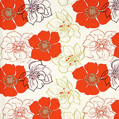 COTTON 100% CURTAIN UPHOLSTERY DUVET FABRIC ORIENTAL FLORAL ORANGE ALLOVER 44'W