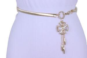 Women-Narrow-Stretch-Waistband-Belt-Gold-Metal-Flower-Pans-Jeans-Loop-Size-S-M-L