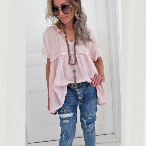 Womens Casual Short Sleeve Blouse V Neck Loose Swing Tunic Summer T-shirt Tops
