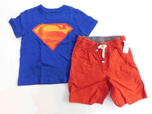 NWT baby Gap Toddler Boy 2 Pc Superman T-Shirt Pull-on Shorts 18-24M /& 2 Yrs New