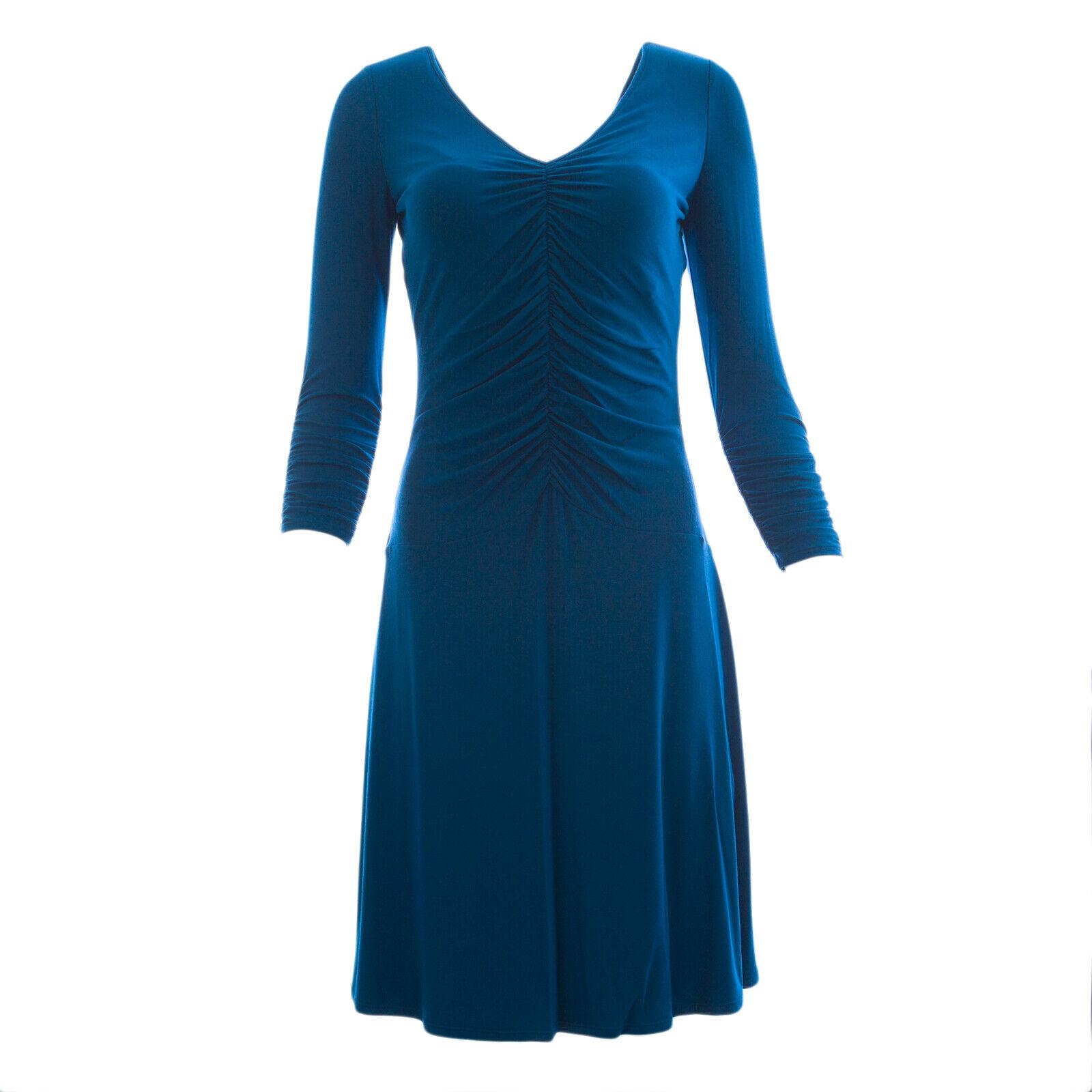Nue durch das Shani Damen Pfauenblau V-Ausschnitt Rüschenkleid S257