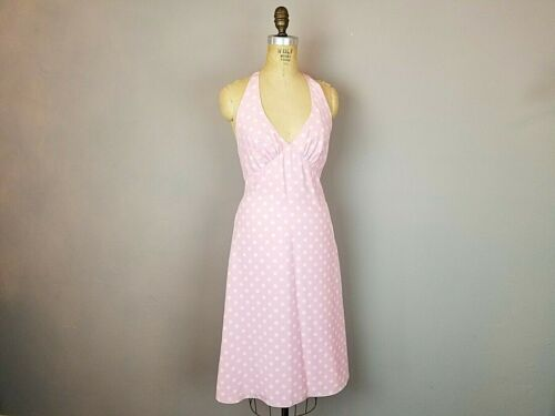 Betsey Johnson Pink Polka Dot Fit n Flare Halter D