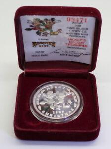 1987-Disney-039-s-MICKEY-039-S-HOLIDAY-TREASURES-1-Troy-oz-999-Silver-Art-Proof-Round