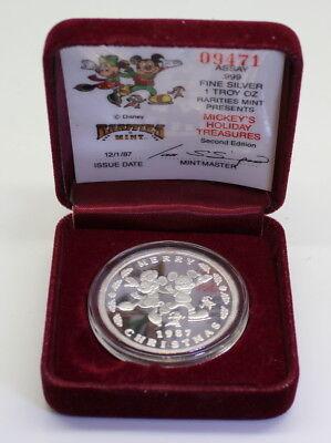 1987 Disney/'s MICKEY/'S HOLIDAY TREASURES 1 Troy oz .999 Silver Art Proof Round
