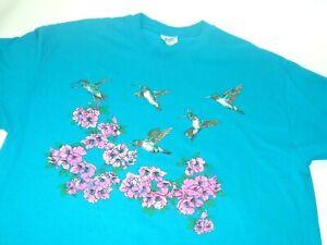 Vintage-HUMMINGBIRD-Teal-Blue-T-Shirt-Unisex-Hanes-Beefy-Tee-XL-USA-Made-kitsch