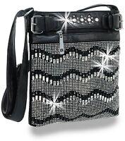 Rhinestone And Gem Chevron Design Cross Body Sling Handbag
