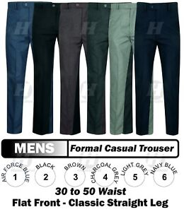 mens office trousers pants straight leg formal work casual