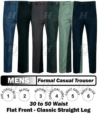 Mens Office Trousers Pants Straight Leg Formal Work Casual Pockets Big Plus New Neueste Mode