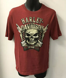 Harley Davidson Men/'s Dark Red Skull Tee Shirt