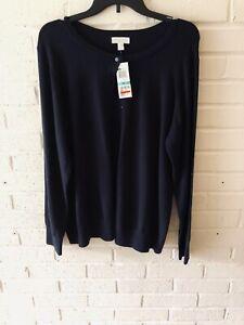 Charter Club Womens Plus Long Sleeve Button Down Cardigan Sweater