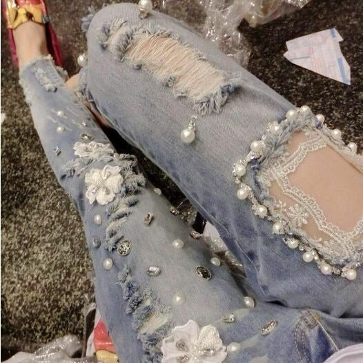 Skinny Fit Denim Jeans With Lace And Beads Ripped Design Full Length Pants Wears