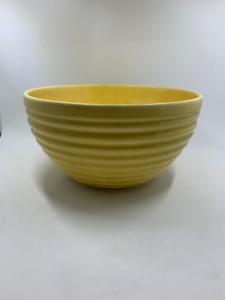 Vintage-Pre-Fiesta-Ware-HLC-Large-Yellow-Mixing-bowl-ridge-pattern-USA-1930-039-s