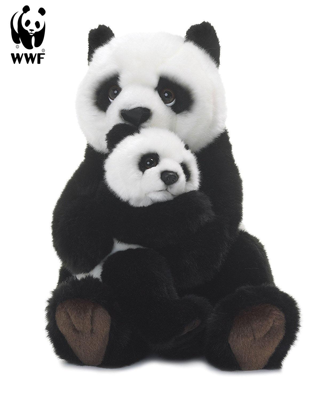 Wwf - panda - mutter mit baby mit spielzeug (11in) lebensechte tiere neue