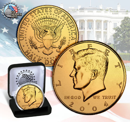 GOLD plated coin w//DISPLAY BOX AND CAPSULE ! 24 k gold half dollar !JFK KENNEDY