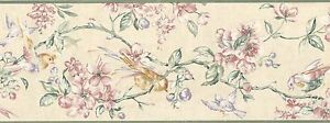 Wallpaper-Border-Traditional-Watercolor-Floral-Branches-Birds-Pink-Green-Plum