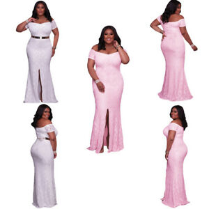 2b1c48f00570 Plus Size Women Pink Off Shoulder Lace Gown Party Cocktail Dress ...