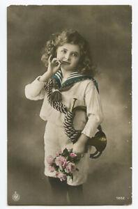 c 1912 Child Children CUTE SAILOR SUIT GIRL kids photo postcard