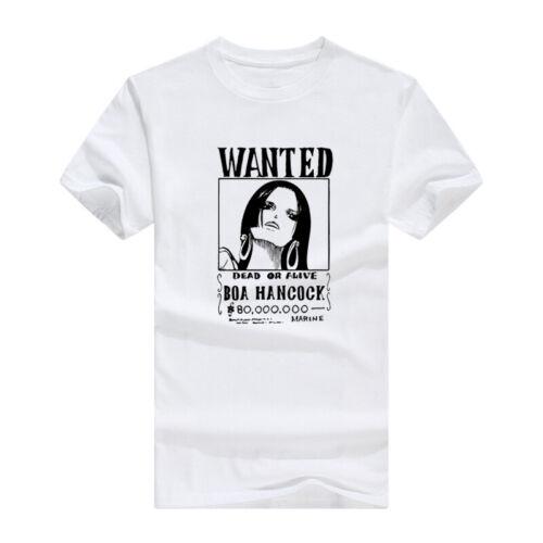 Anime One Piece Bounty WANTED Boa Hancock T-Shirts Short Sleeves Casual Tee Tops