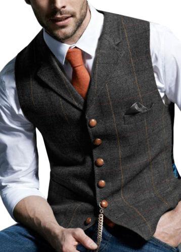 Mens Vintage Tweed Waistcoat Herringbone Wool Vests Suit Notch Lapel Silm M-3XL