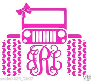 Monogram Initials Jeep Girls Pink Vinyl Sticker Decal For