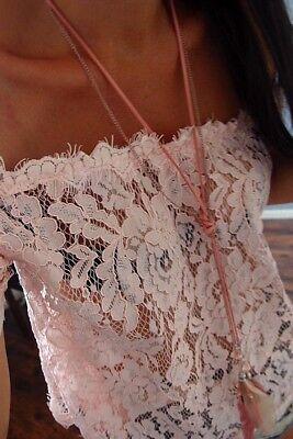 Bluse Neu XS S Hängerchen Rosa Spitze Chic Bauchfrei Shirt Blogger Trend Tunika