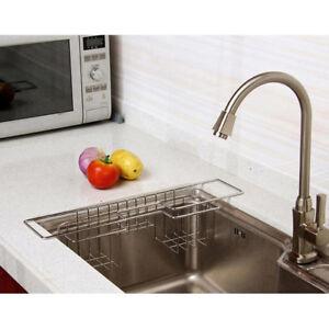 Kitchen Sponge Holder Sink Caddy Brush Towel Drainer Rack Stainless Steel Ebay