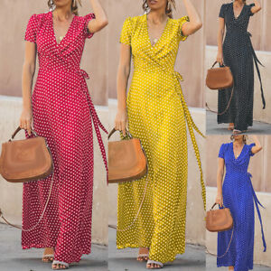 EG-Boho-Women-039-s-Summer-Holiday-Polka-Dot-Maxi-Dress-V-neck-Long-Shirt-Dress-Nov