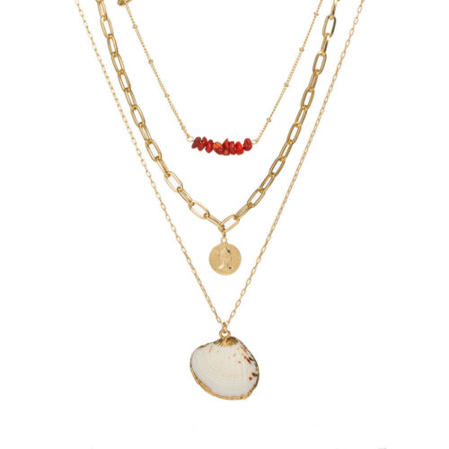 Women  Pearl Shell Charm Multilayer Necklace Boho Choker Gold Long Chain