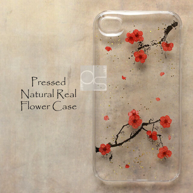 YHS Pressed Real Sakura Flower Bling Floral Hard Skin Case For iPhone Samsung