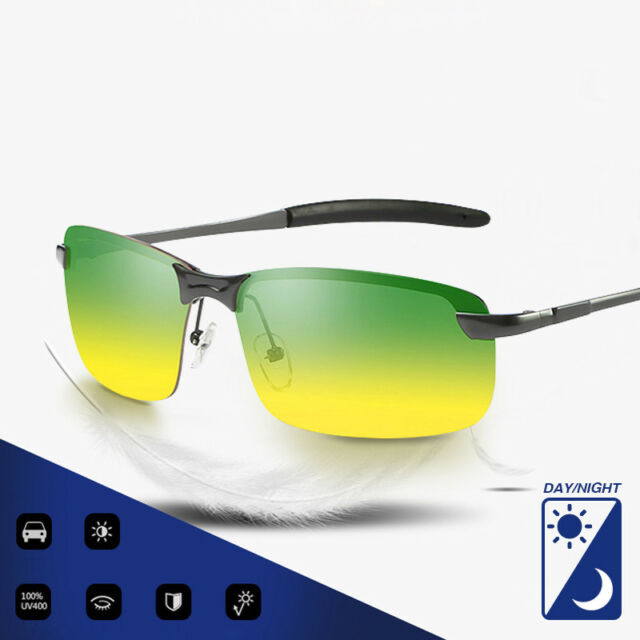 fd9377df192 Men s Polarized Sunglasses Day Night Vision Driving HD UV400 Pilot Sun  Glasses
