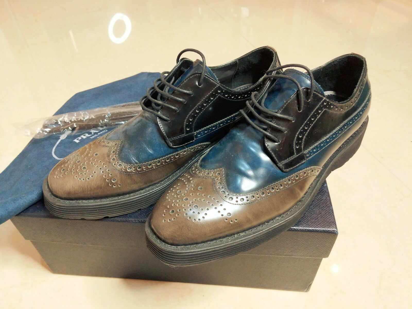 4042d547 Especial PRADA Cuero Azul Negro Marrón Plataforma Zapatos EE. UU. Derby  Hombre nulucl4206-Zapatillas deportivas