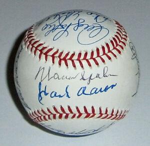 1957 BRAVES team signed baseball Hank Aaron Spahn Mathews JSA 16 AUTOS Autograph