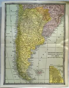 SOUTH AMERICA ARGENTINA CHILE MAP VINTAGE SCIENTIFIC AMERICAN - Argentina chile map