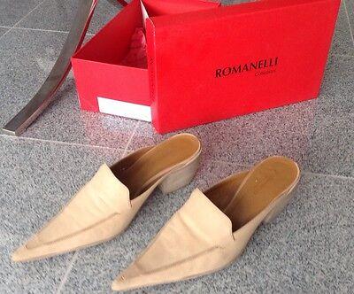 ROMANELLI COLLEZIONI Slipper Schuhe Crema 470 Beige 100% Echt Leder Damen Gr 38