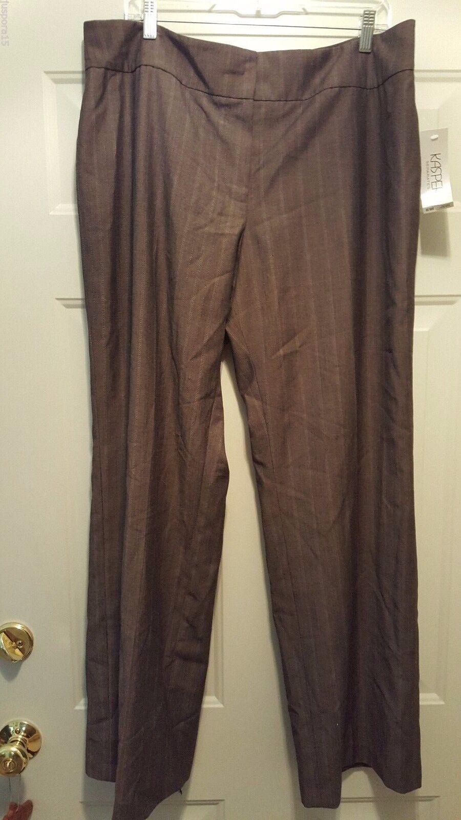 Kasper NWT Womens Light Dark Brown Striped Lined Dress Pants Size 16