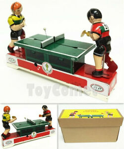 MS358-Ping-Pong-Table-Tennis-Retro-Clockwork-Wind-Up-Tin-Toy-w-Box