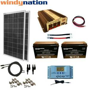 Solar Panel Battery Bank >> 200w 12v Solar Panel Kit 1500w Inverter Agm Battery Bank Rv Boat