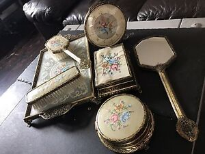 Image Is Loading Vintage Mirror And Hair Brush Set 7 Pieces