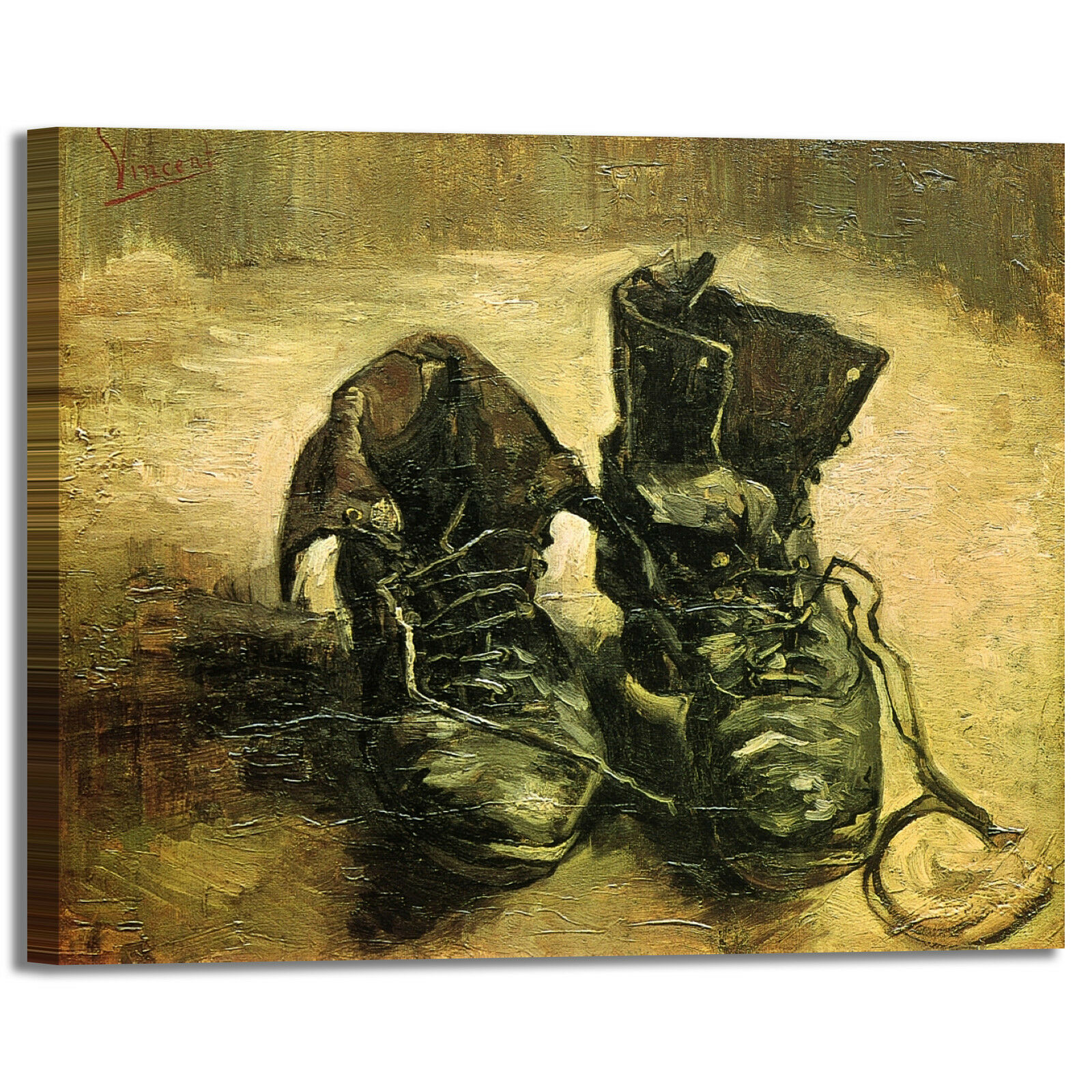 Van Gogh un paio di scarpe design quadro stampa tela dipinto telaio arrossoo casa