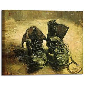 Dettagli su Van Gogh un paio di scarpe design quadro stampa tela dipinto telaio arredo casa
