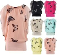 WOMEN LADIES BUTTERFLY PRINT SLEEVELESS DRESS VEST TOP SIZE 6, 8-10, 12-14