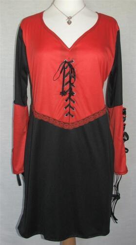 Nouveau Eaonplus fab noir /& rouge gothique sweetheart lace-up tunique tailles 14 à 36
