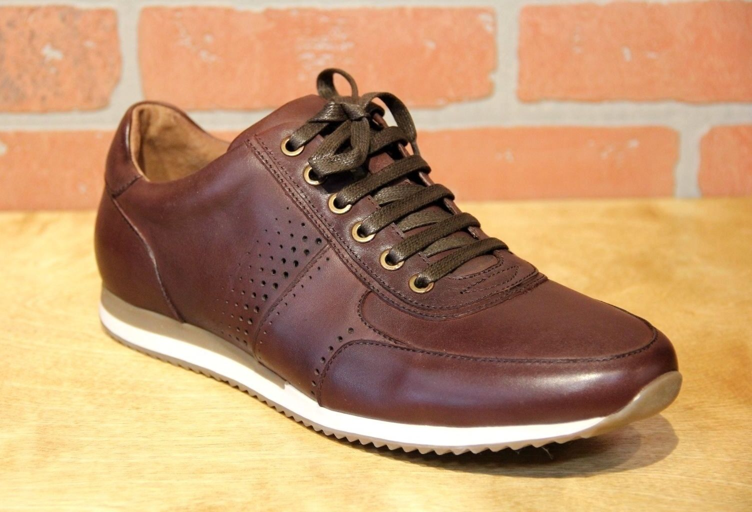 Bacco Bucci Men's Fashion Sneaker Leather Oxford shoes Fausto Meyer 6803 Brown