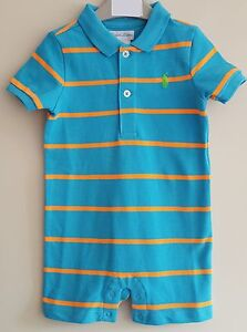 fe51bd83c BNWT POLO RALPH LAUREN BABY BOYS SHORTALL/ROMPER/ALL IN ONE BLUE AND ...