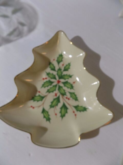 Lenox Fine China Christmas Tree Shaped Holly Candy Dish Holiday