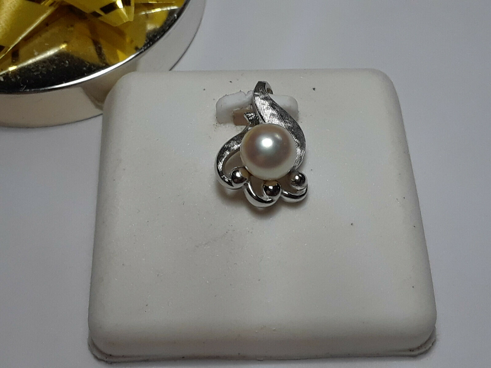 6.3mm Natural Cultured Pearl Antique Style Brushed 14Kt White gold Pendant