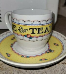 """Mary Engelbreit Tea Cup & Saucer """"Time for Tea"""" Andrews McMeel Publishing"""