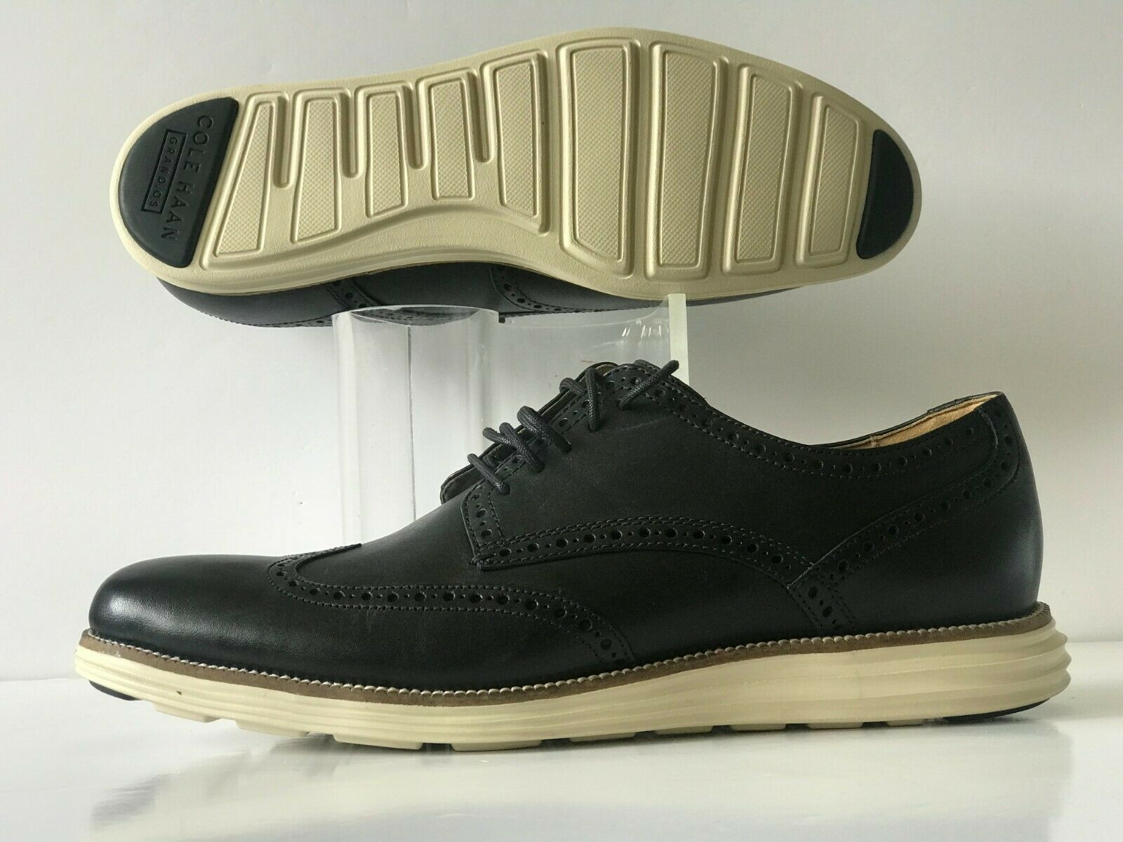 Cole Haan Grand Original Bout D'Aile Oxford Noir Blanc Homme Taille 12 (C20775)