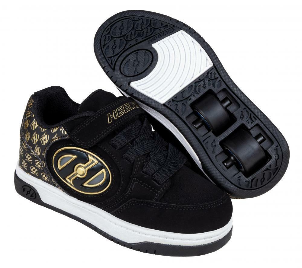 Nieuwe Heelys Plus X2 Lichted WHakken Skating Kinds Unisex schoenen zwart goud Logo