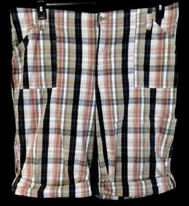 Essentials-tan-red-plaid-pattern-women-039-s-plus-size-belt-loop-shorts-18-20W